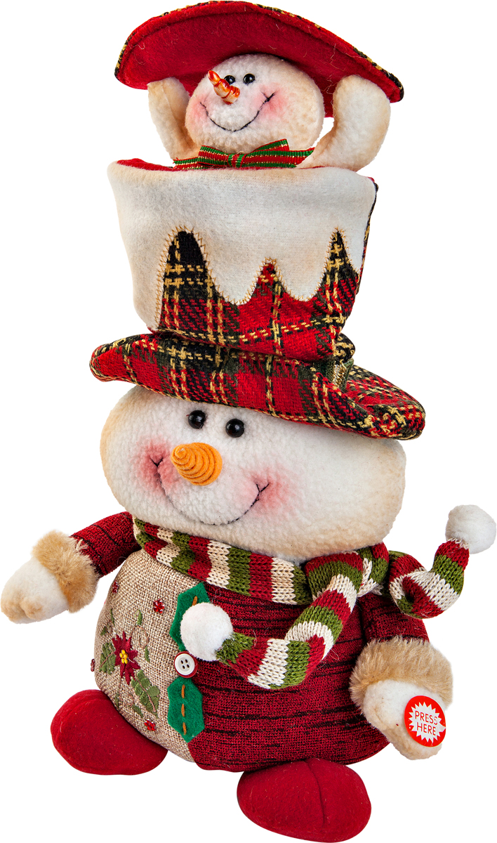 """Новогодняя пляшущая и поющая игрушка Mister  Christmas """"Снеговик"""" послужит оригинальным подарком  в преддверии Нового года.   Внешний вид сувенира весьма незатейлив. Изделие  выполнено в виде снеговика. При нажатии игрушка начинает двигаться в  такт песни (PSY - Gangnam Style). Несмотря на столь  ритмичные движения, механизм игрушки прослужит  очень и очень долго. Все материалы, входящие в состав  игрушки, прошли тщательные проверки и отличаются  высочайшим качеством. Так же стоит отметить и то, что  все материалы экологичны и безопасны. Работает от  батареек (входят в комплект).  Собираясь на празднование Нового года, прихватите с  собой новогоднюю музыкальную игрушку Mister  Christmas """"Снеговик"""", ведь это подарок,  который говорит сам за себя!   Высота игрушки: 38 см."""