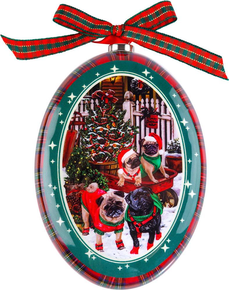 Украшение новогоднее подвесное Mister Christmas Мопс, высота 11 смPM-DISK-20Подвесное украшение Mister Christmas выполнено в виде диска папье-маше с изображением символа года 2018, изготовлено вручную из бумаги и покрыто несколькими слоями лака. Такой диск очень легкий, но в то же время удивительно прочный. На создание одной такой игрушки уходит несколько дней. И в результате получается настоящее произведение искусства!Изделие оснащено ленточкой для подвешивания.Такое украшение станет превосходным подарком к Новому году, а также дополнит коллекцию оригинальных новогодних елочных игрушек.