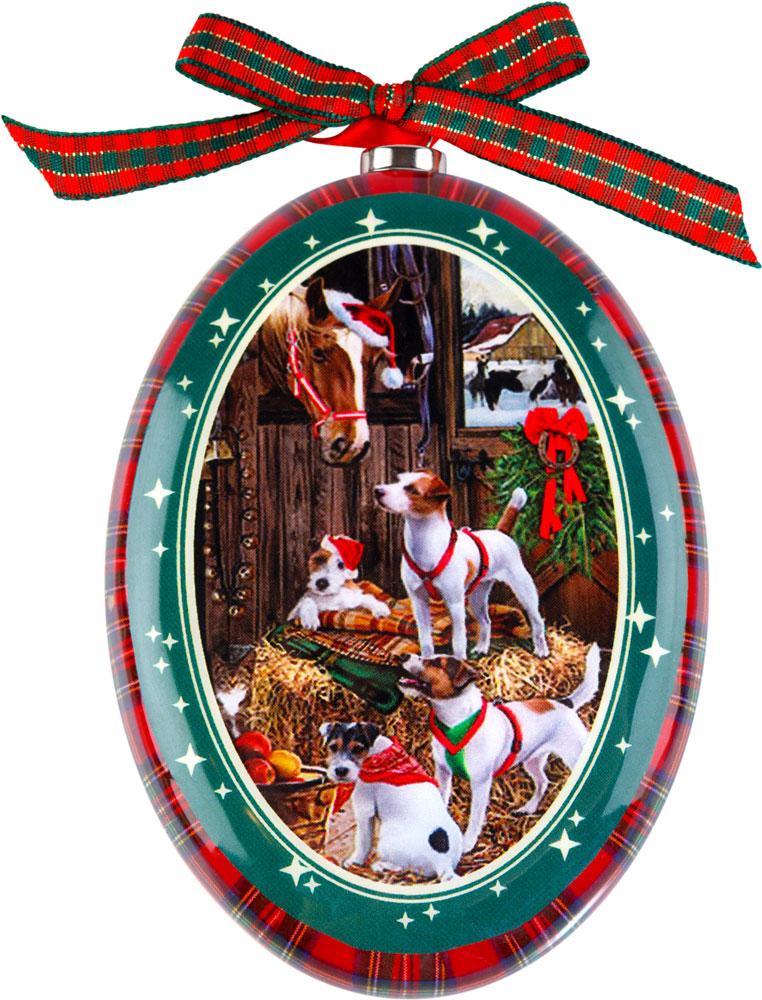 """Подвесное украшение """"Mister Christmas"""" выполнено в виде диска папье-маше с изображением символа года 2018, изготовлено вручную из бумаги и покрыто несколькими слоями лака. Такой диск очень легкий, но в то же время удивительно прочный. На создание одной такой игрушки уходит несколько дней. И в результате получается настоящее произведение искусства!  Изделие оснащено ленточкой для подвешивания.  Такое украшение станет превосходным подарком к Новому году, а также дополнит коллекцию оригинальных новогодних елочных игрушек."""