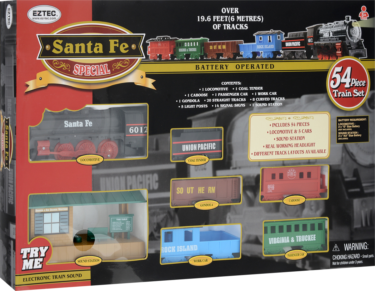 EZTEC Железная дорога Santa Fe Special Train Set с функцией Try Me hape железная дорога jungle train journey