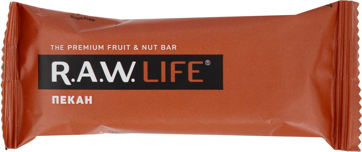 RAWLife Пекан батончик орехово-фруктовый, 47 г pikki клюква миндаль батончик орехово фруктовый 35 г