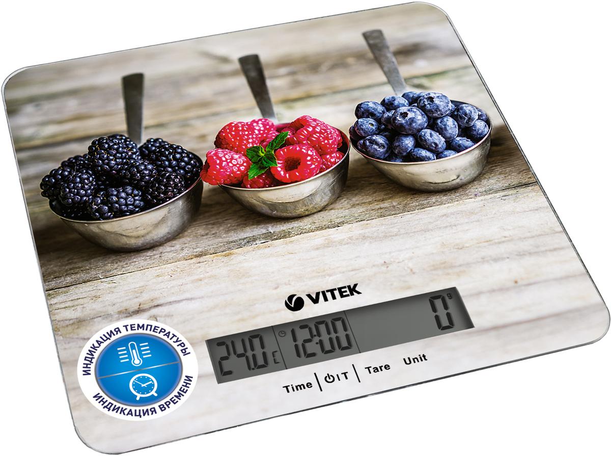 Vitek VT-2429(MC) кухонные весыVT-2429(MC)Весы кухонные VITEK VT-2429 MC характеристики. Автоматическое выключение.Встроенные часы.Индикация заряда батареи.Индикация перегрузки.Индикация температуры.Материал корпуса: пластик. Материал платформы / чаши: стекло . Последовательное взвешивание.Предел взвешивания: 5 кг.Размер дисплея: 95x18 мм. Размер дисплея по вертикали: 18 см. Размер дисплея по горизонтали: 95 см. Размер платформы: 20,0x18,5 см. Тарокомпенсация.Тип элементов питания: 1хCR2032 ( в комплекте). Точность измерения: 1 г.
