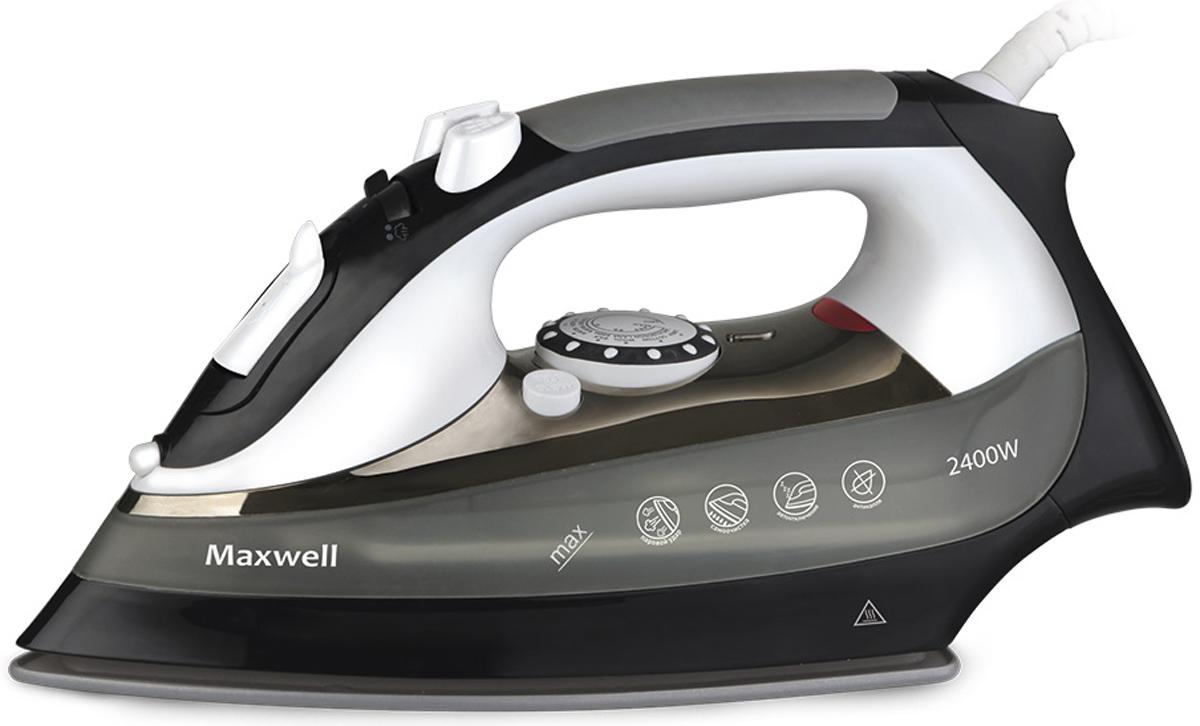 Maxwell MW-3018(BК) утюгMW-3018(BК)Утюг Maxwell (2400 Вт. Керамическая подошва. Хромированные вставки. Функция Антикапля)