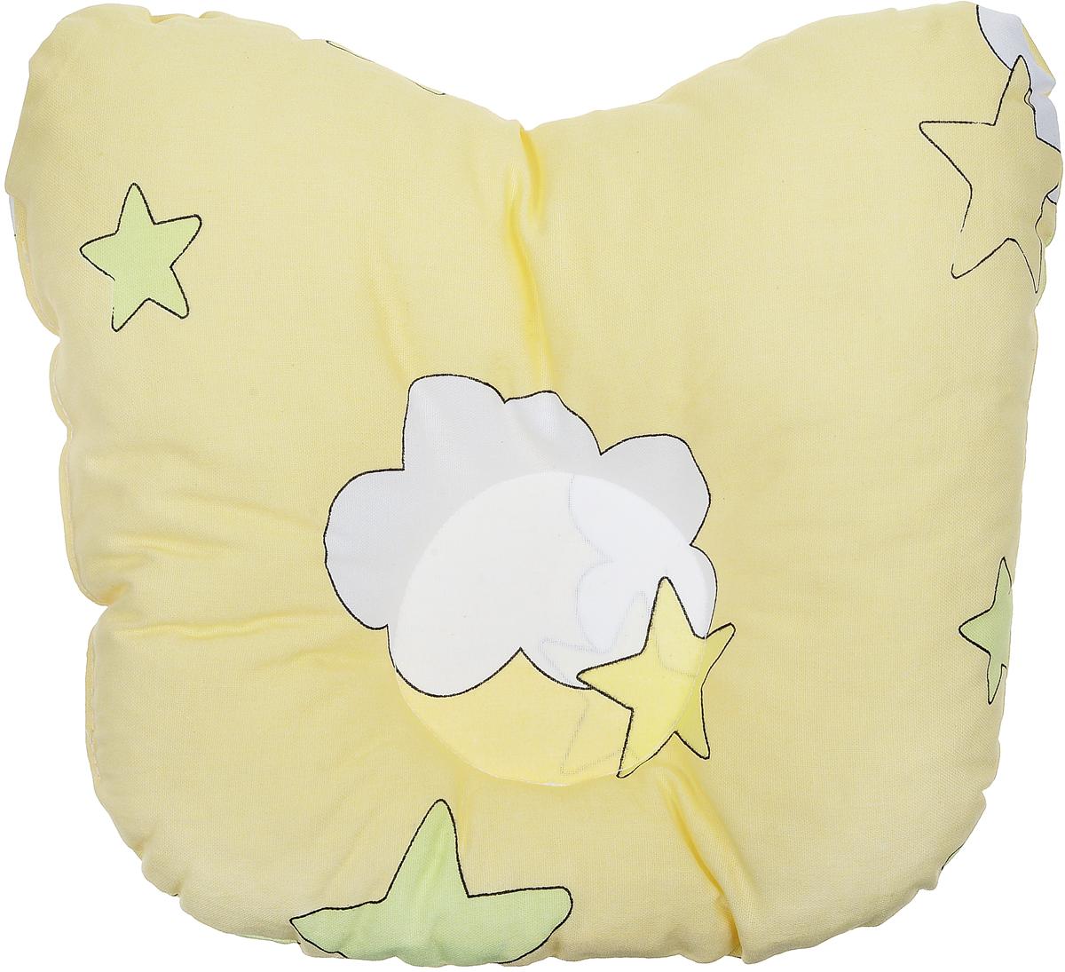 Сонный гномик Подушка анатомическая для младенцев Звездочки Тучки цвет желтый 27 х 20 см555А_желтыйАнатомическая подушка для младенцев Сонный гномик Звездочки. Тучки компактна и удобна для пеленания малыша и кормления на руках, она также незаменима для сна ребенка в кроватке и комфортна для использования в коляске на прогулке. Углубление в подушке фиксирует правильное положение головы ребенка.Подушка помогает правильному формированию шейного отдела позвоночника.