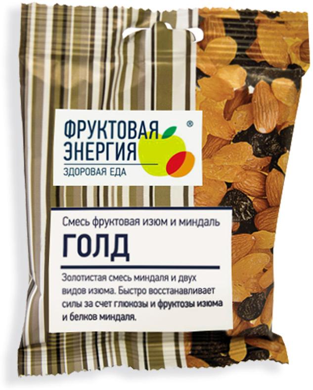 Фрути – Голд смесь фруктово-ореховая миндаль два вида крупного изюма, 50 г хлебная смесь хлеб золотистый
