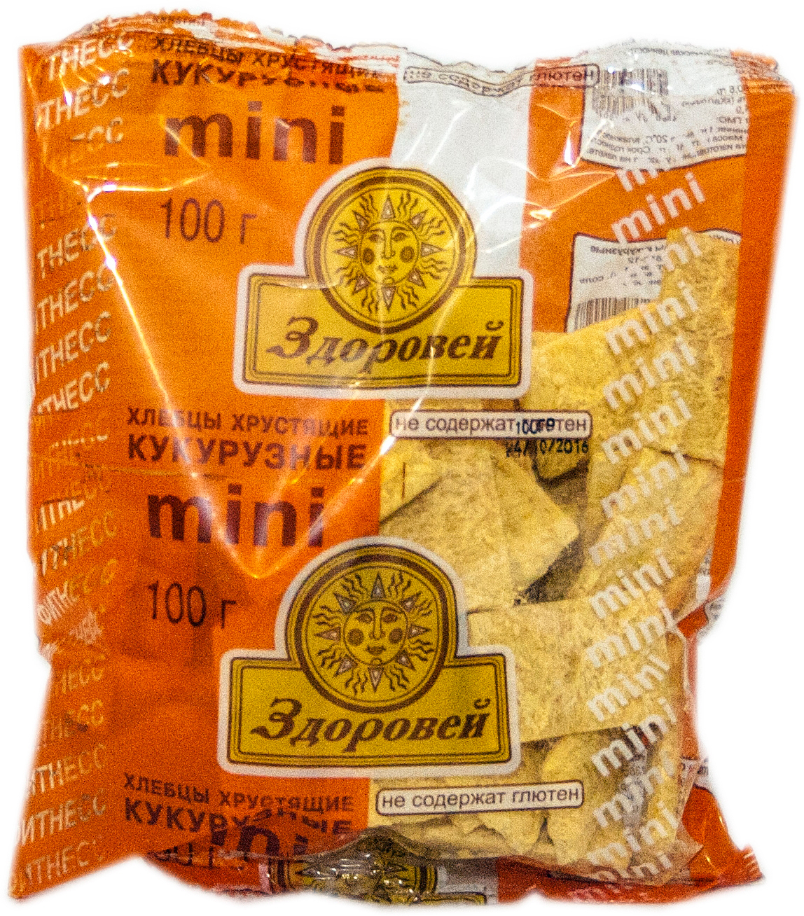 Кукурузные мини-хлебцы без глютена торговой марки Здоровей используются вместо хлеба, содержат большое количество ценных витаминов и микроэлементов, требующихся организму, пищевые волокна, способствующие улучшению пищеварения. Продукт от российского производителя компании Безглютеновый продукт комбинат детского и диетического питания в Санкт-Петербурге предназначен для людей, соблюдающих безглютеновую диету, в том числе больным целиакией и людей, склонных к аллергии на глютен.