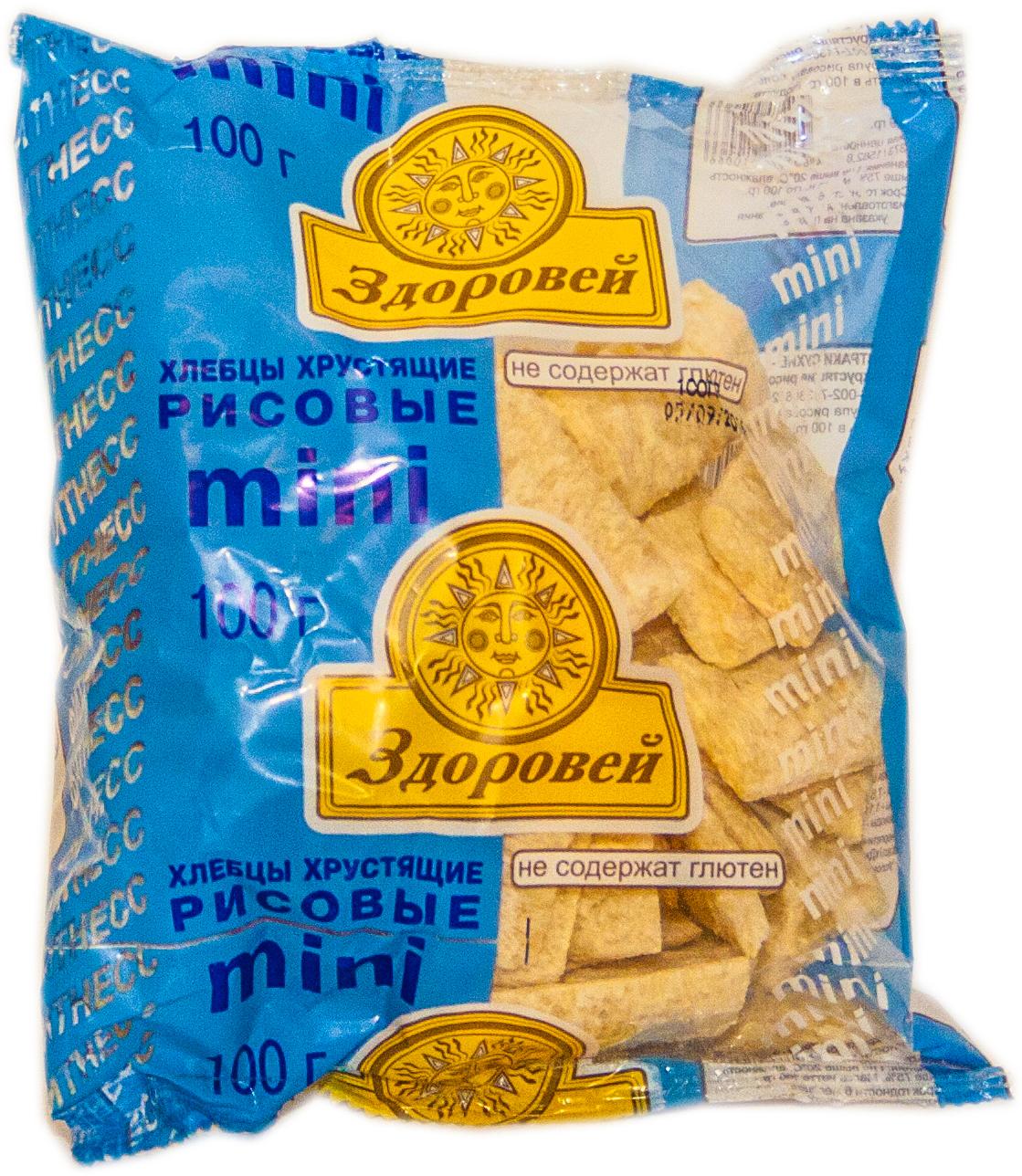 Рисовые мини-хлебцы без глютена торговой марки Здоровей используются вместо хлеба, содержат большое количество ценных витаминов и микроэлементов, требующихся организму, пищевые волокна, способствующие улучшению пищеварения. Безглютеновый продукт от российского производителя компании Первый комбинат детского и диетического питания в Санкт-Петербурге предназначен для людей, соблюдающих безглютеновую диету, в том числе больным целиакией и людей, склонных к аллергии на глютен.
