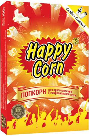 Happy Corn Попкорн для приготовления в СВЧ сладко - соленый, 100 г