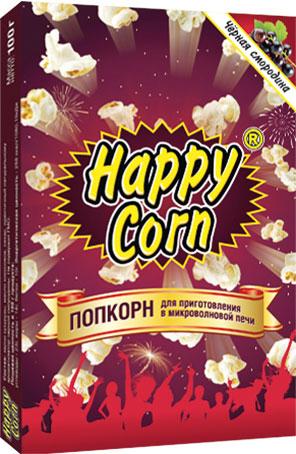 Happy Corn Попкорн для приготовления в СВЧ со вкусом черной смородины, 100 г4607156600441Попкорн является самым полезным снеком – это полноценный зерновой продукт, источник высококачественных углеводов, он низкокалориен, поэтому может использоваться в программах снижения веса. Главное его достоинство в том, что он содержит большое количество клетчатки, которая очищает организм от токсинов и играет значительную роль в регуляции уровня холестерина и сахара в крови. По предварительным подсчётам, в одной порции попкорна содержится 50% дневной нормы клетчатки.