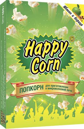 Happy Corn Попкорн для приготовления в СВЧ со вкусом яблока и корицы, 100 г free shipping corn extruder corn puffed extrusion rice extruder corn extrusion machine food extrusion machine