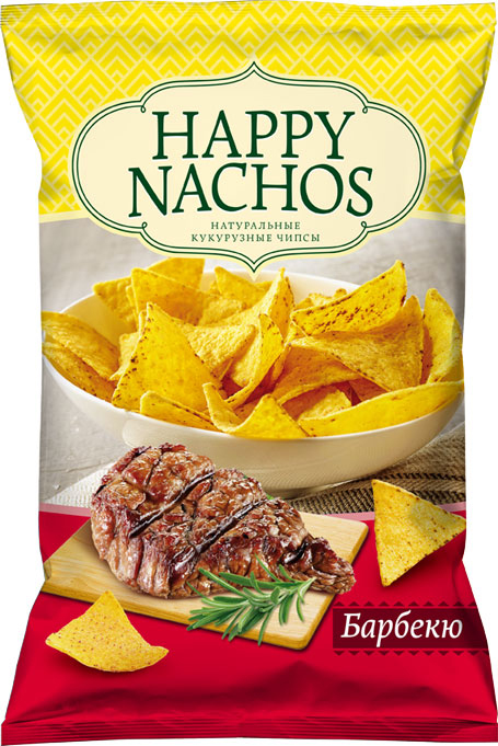 Happy Nachos Чипсы кукурузные со вкусом барбекю, 75 г4607156600649Чипсы начос появились в далеких 40-х годах прошлого столетия и подавались эти хрустящие треугольники в Мексиканских ресторанах в виде простой закуски. Не так уж много времени спустя мексиканские чипсы начос заставили хрустеть практически весь мир. В наше время ничего не поменялось, фанатов этого блюда стало только больше. Вкус Начос Барбекю с легким вкусом дымка придется по вкусу всем любителям копченостей.