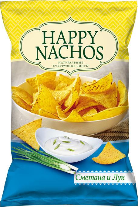 Happy Nachos Чипсы кукурузные со вкусом сметаны и лука, 75 г4607156600687Чипсы начос появились в далеких 40-х годах прошлого столетия и подавались эти хрустящие треугольники в Мексиканских ресторанах в виде простой закуски. Не так уж много времени спустя мексиканские чипсы начос заставили хрустеть практически весь мир. В наше время ничего не поменялось, фанатов этого блюда стало только больше. Необычное на первый взгляд сочетание сметаны с луком зарекомендовало себя как наиболее популярный вкус у большого количества любителей начос.