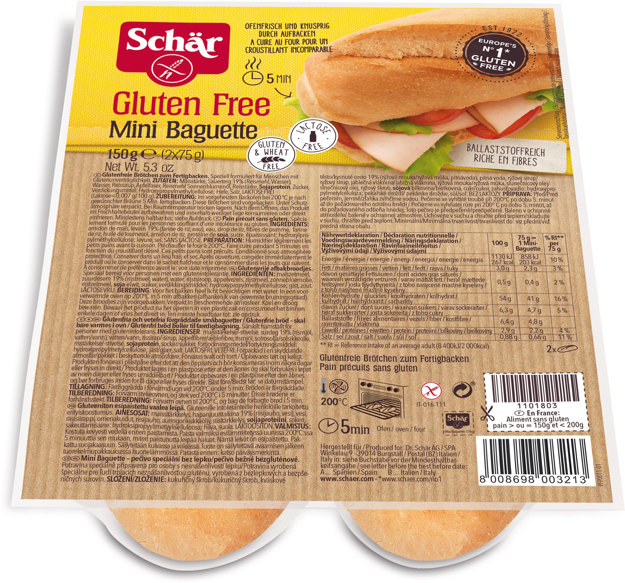Dr. Schar Mini Baguette Duo Мини-багеты Дуо, 150 г dr schar pan cereal хлеб многозерновой 225 г