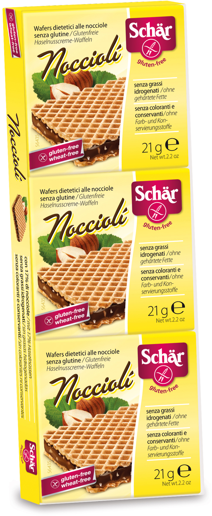 Dr. Schar Nocciolli Вафли с кремом какао, 3 шт по 21 г dr schar вафли ванильные 125г