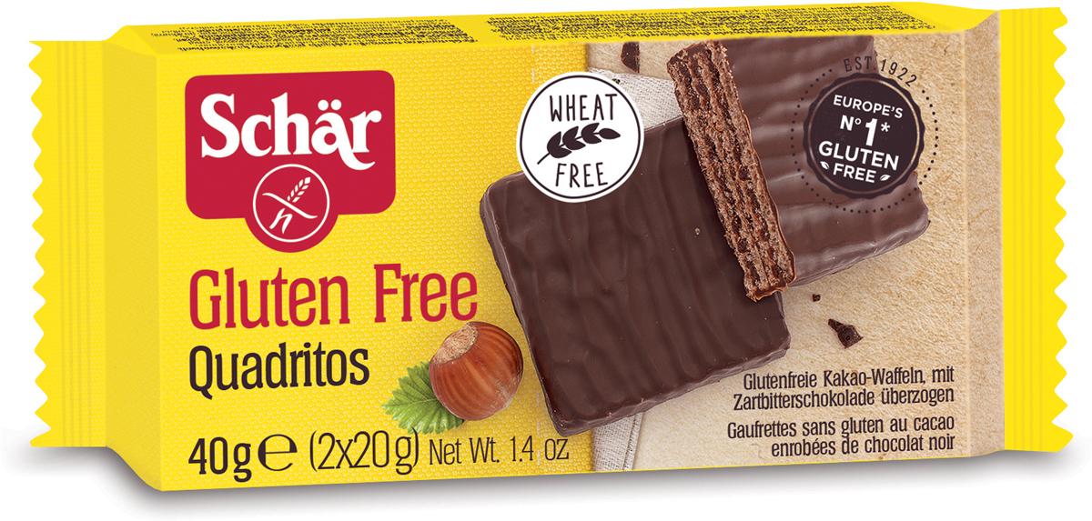 Dr. Schar Quadritos Вафельный батончик в шоколаде, 2 шт по 20 г коломпенское вафли шоколадный вкус 220 г