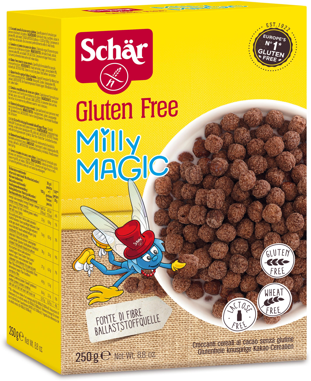 Dr. Schar Milly Magic Сухой завтрак шарики, 250 г8008698007709Безглютеновый хрустящий завтрак с какао. Хрустящий шоколадный заряд энергии. Хрустящий и вкусный завтрак Milly Magic помогает клеткам мозга работать на полную мощь! Для тех, кому этого недостаточно, в каждой упаковке есть веселая игра для развития памяти от Милли. Веселись и хрусти с удовольствием! Завтрак Milly Magic легко и быстро готовить: просто смешай его с молоком или йогуртом и свежими фруктами - больше тебе ничего не понадобится для бодрого начала дня! Такой завтрак очень прост и взбодрит любого не любителя утра!