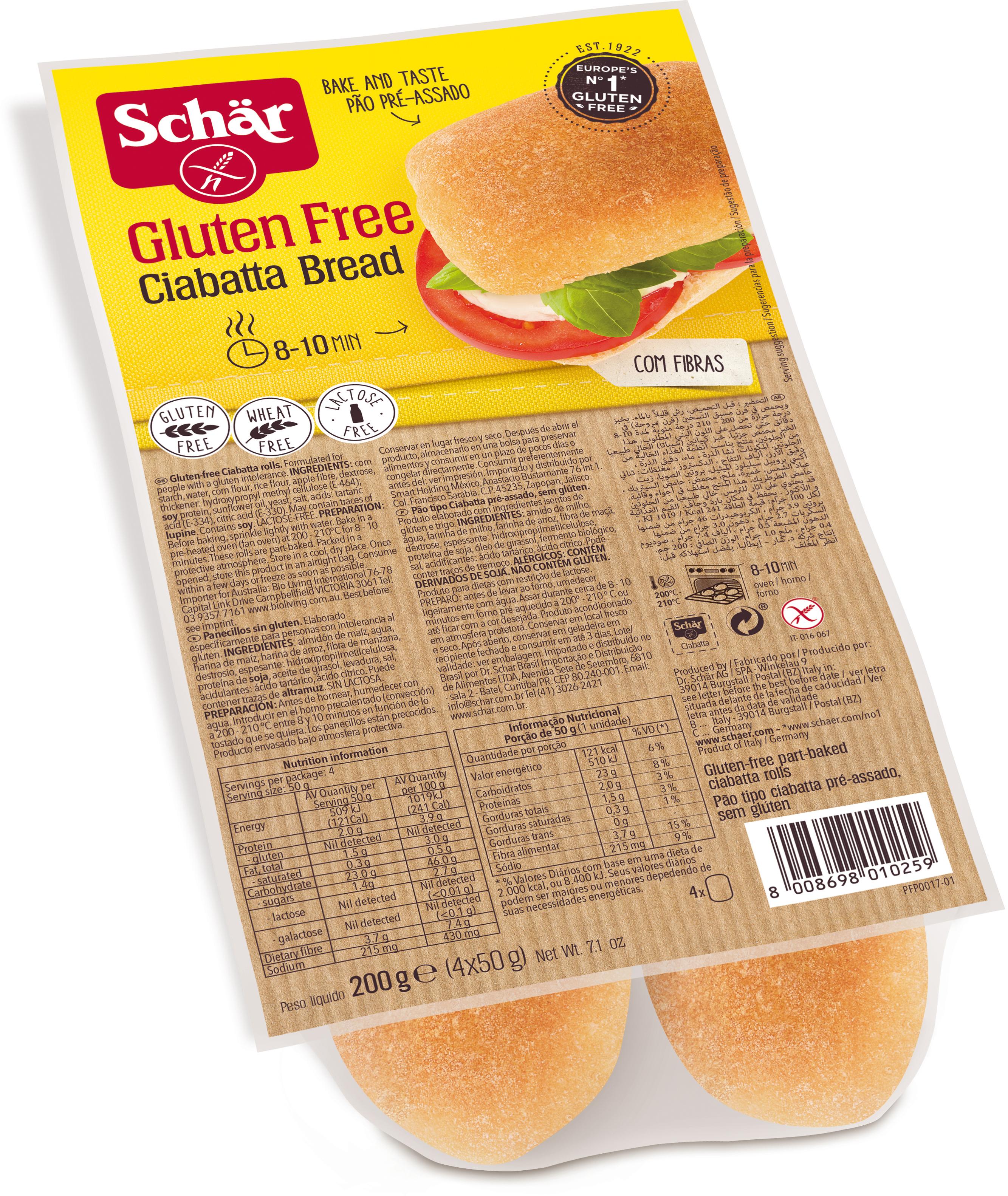 Dr. Schar Ciabatta Хлеб итальянский, 200 г dr schar rustico хлеб многозерновой 450 г
