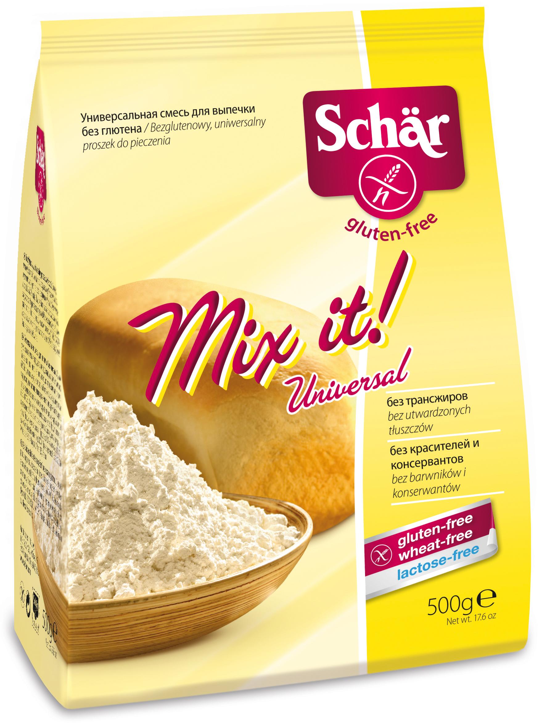 """Mix-it! - новая универсальная мука из ценных компонентов. Для хлеба, пиццы, пирога или клецок. """"Mix it!"""" подходит для мягкого хлеба и нежной выпечки, вкусных блинов, клецок, а также для загущения соусов или панировки и многого другого. """"Mix it!"""" подходит для дрожжевого, рассыпчатого, бисквитного теста или теста для кексов. С этой смесью можно приготовить как сладкие, так и соленые блюда. Мука тонкого помола, не требует просеивания. """"Mix it!"""" не содержит глютен, пшеницу и лактозу, следы яиц, молока и сои. Она производится исключительно из растительных компонентов и не содержит ароматизаторов, красителей и консервантов. Просто попробуйте ее!"""