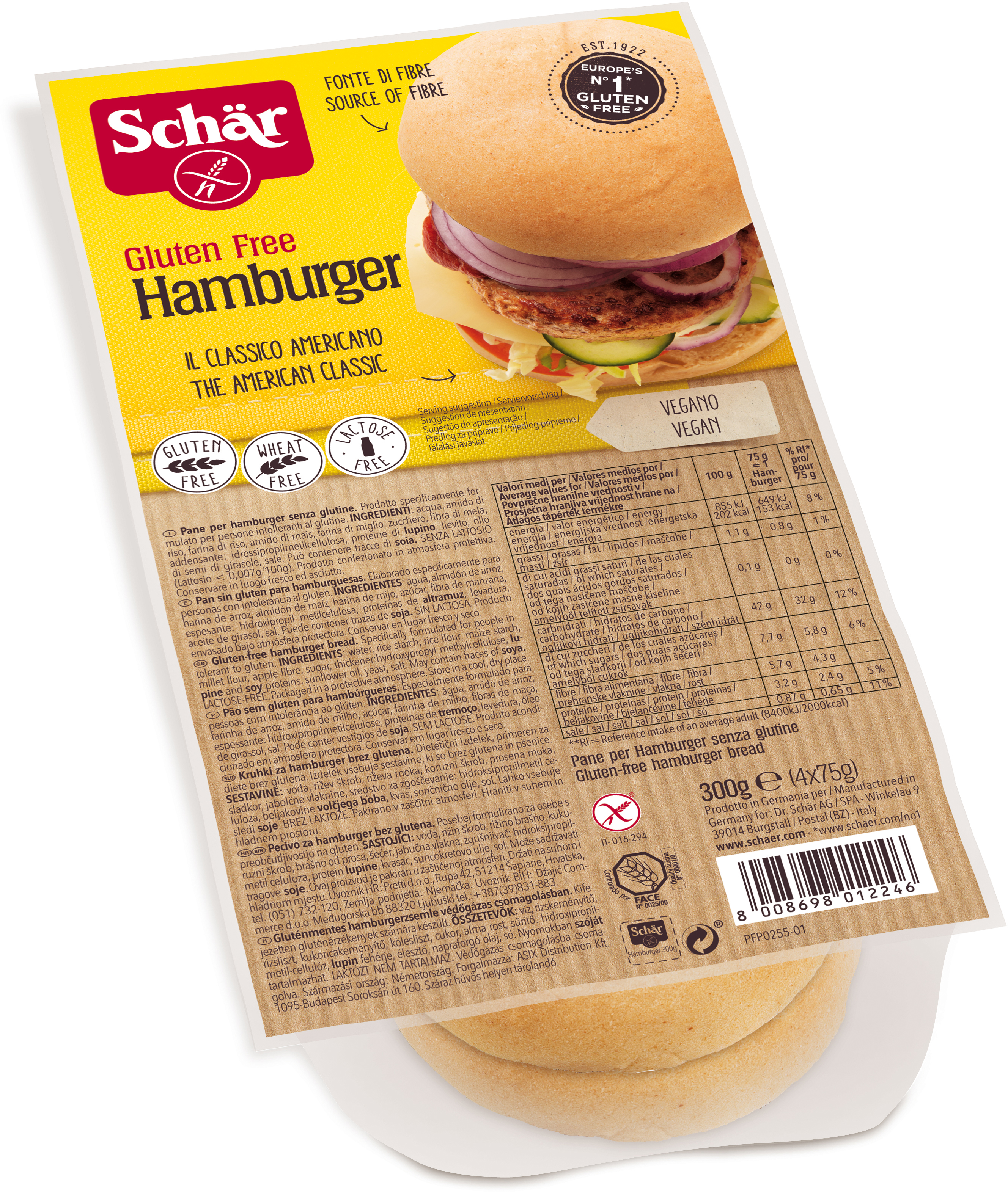 """Булочки для гамбургера итальянской компании Dr.Schar – хлеб от лидера европейского рынка по выпуску безглютеновых продуктов для повседневного питания больных целиакией. Продукт произведен из экологически чистого сырья, с соблюдением строжайших технологических требований и экологических стандартов Европейского союза, отмечен международным значком """"Gluten free"""". Хлеб не содержит глютена, пшеничного крахмала, лактозы, молока и консервантов, имеет натуральный вкус, высокое содержание волокон, без ГМО. Этот продукт рекомендован для профилактики и лечения пищевой аллергии, больных целиакией (непереносимость растительного белка) и людей, соблюдающих безглютеновую диету."""