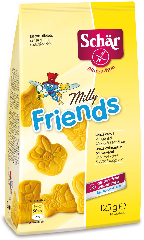 Dr. Schar Milly Freinds Печенье, 125 г8008698032084Детское печенье Milly freinds - вкусный диетический продукт, специально разработанный итальянскими технологами для малышей с непереносимостью глютена и с учетом их потребностей в питательных веществах. Печенье, представленное в виде различных фигурок, вызовет у детей море веселья и восторга. Кондитерское изделие произведено на основе натурального экологически чистого сырья, без добавления красителей, консервантов и усилителей вкуса. Детское печенье, имеющее сбалансированный состав и обогащенное витаминами и минералами, принесет огромную пользу растущему организму.