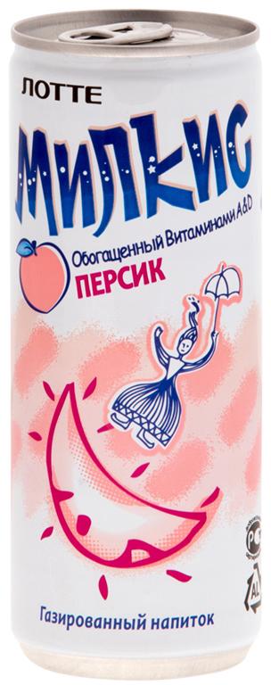 Lotte Milkis напиток газированный безалкогольный со вкусом Персика, 250 мл lotte milkis напиток газированный безалкогольный со вкусом манго 250 мл