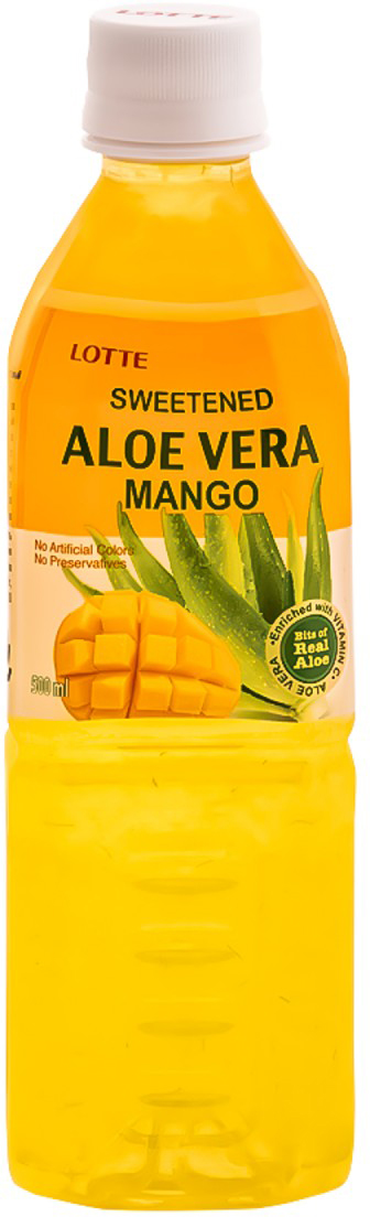 Lotte Aloe Vera напиток безалкогольный негазированный с мякотью алоэ со вкусом Манго, 500 мл напиток mychoice nutrition my fitness l carnitine 2700 shot клубника 9 x 60 мл