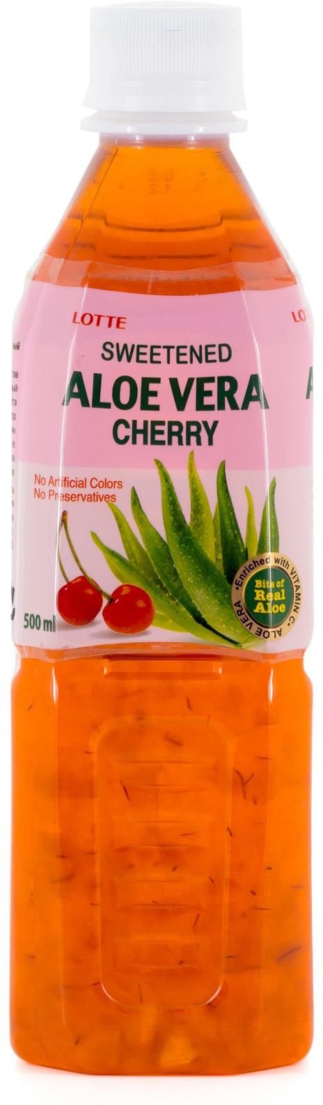 Lotte Aloe Vera напиток безалкогольный негазированный с мякотью алоэ со вкусом Вишни, 500 мл lotte aloe vera напиток безалкогольный негазированный с мякотью алоэ со вкусом вишни 240 мл
