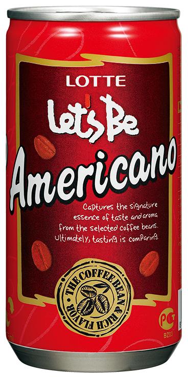 Lotte Let's Be безалкогольный негазированный кофейный напиток Americano, 175 мл