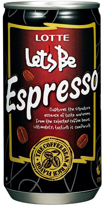 Lotte Le'ts Be безалкогольный негазированный кофейный напиток Espresso, 175 мл, Lotte Let's Be