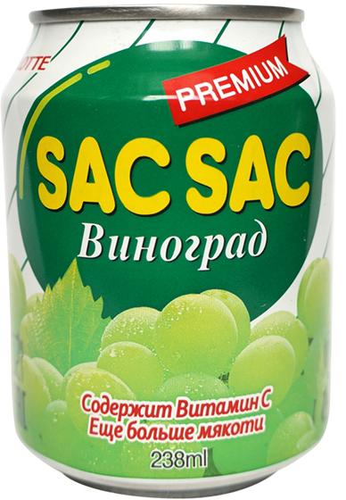 Lotte Sac-Sac напиток безалкогольный негазированный с мякотью фруктов Виноград, 238 мл lotte aloe vera напиток безалкогольный негазированный с мякотью алоэ со вкусом вишни 240 мл