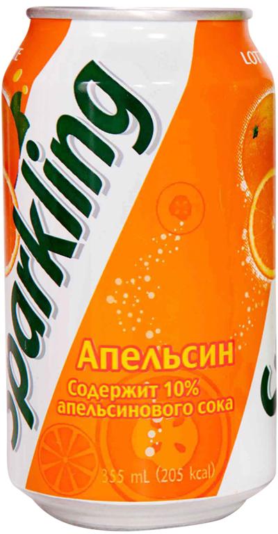 Lotte Sparkling напиток газированный безалкогольный со вкусом Апельсина, 355 мл hulala напиток миндальный с сахаром ультравысокопастеризованный со вкусом и ароматом фисташек 1 кг