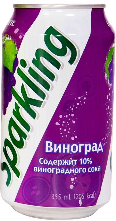 Lotte Sparkling напиток газированный безалкогольный со вкусом Винограда, 355 мл hulala напиток миндальный с сахаром ультравысокопастеризованный со вкусом и ароматом фисташек 1 кг