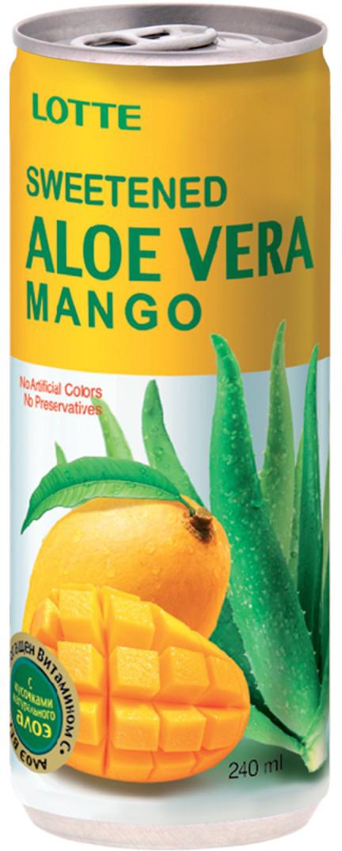 Lotte Aloe Vera напиток безалкогольный негазированный с мякотью алоэ со вкусом Манго, 240 мл8801056048334Безалкогольный корейский напиток с кусочками алоэ, дополнительно обогащенный витамином С. Не содержит красителей и консервантов, является исключительно полезным для здоровья продуктом. Напиток Алоэ-вера-Манго от Lotte понравится взрослым и детям, утолит жажду и подарит хорошее настроение.
