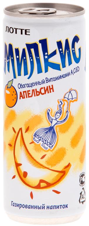 Lotte Milkis напиток газированный безалкогольный со вкусом Апельсина, 250 мл lotte aloe vera напиток безалкогольный негазированный с мякотью алоэ со вкусом граната 240 мл