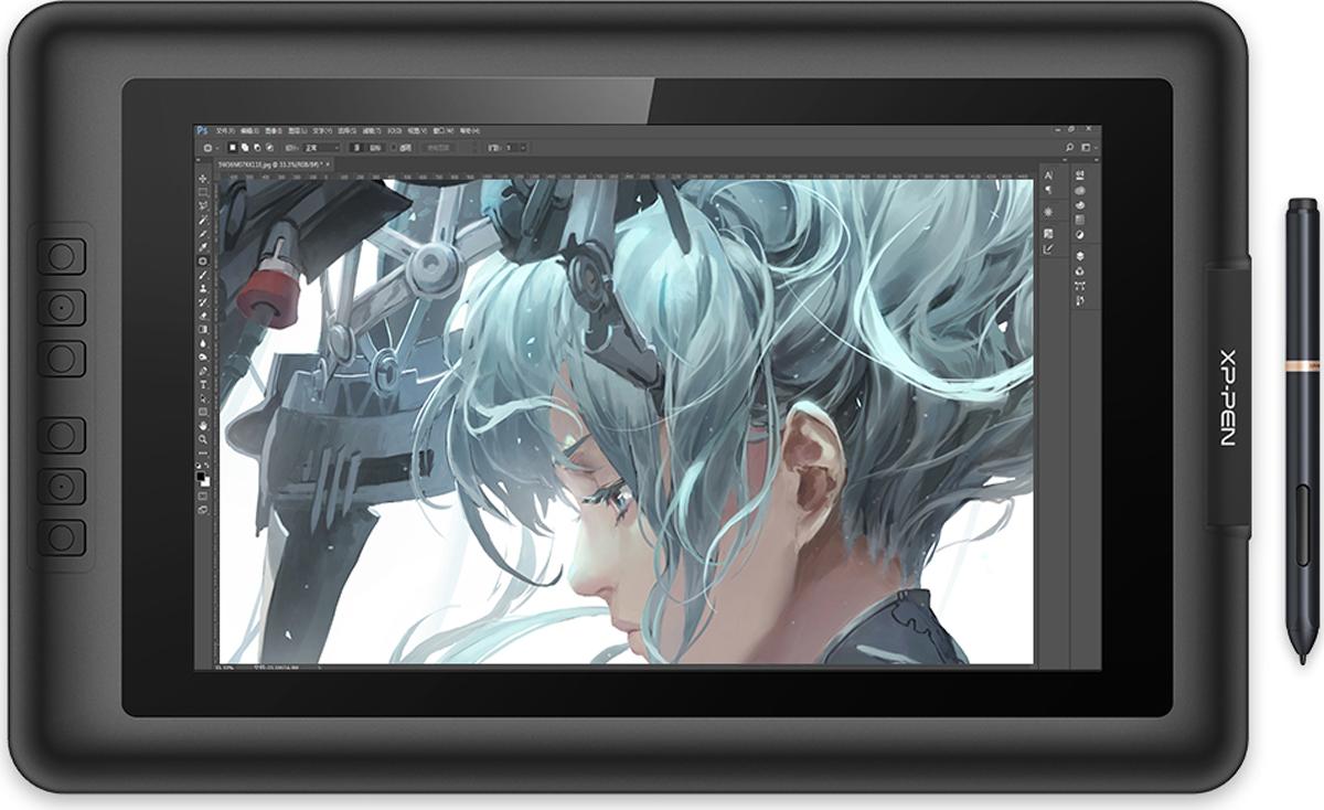 Xp-Pen Artist 13.3, Black графический планшет-мониторArtist 13.3XP-Pen Artist 13.3 представляет собой невероятно удобный и функциональный монитор-планшет. В отличие от графического планшета, позволяющего переносить ваши рисунки на подключенный ноутбук или ПК, данный девайс сам является высококачественным монитором с IPS-матрицей и разрешением FullHD. Он комплектуется стилусом, не требующим зарядки и позволяющим выполнять эскизы, заниматься 3D-моделированием или редактировать фото в любом месте и без потребности в дополнительном оборудовании. Планшет поддерживает самые популярные графические редакторы и совместим с ОС Windows и Mac OS. Дизайн Стильный и эргономичный 13.3-дюймовый интерактивный монитор-планшет XP-Pen Artist 13.3 имеет ультратонкий дизайн и прекрасно подойдет для работы любой рукой. Модель оснащена 6 программируемыми кнопками слева от экрана, которые позволят активировать наиболее востребованные функции. Планшет имеет разъем USB-C для подключения вспомогательных устройств, а также комплектуется переходником HDMI. Высокая точность и комфортИнтерактивный планшет XP-Pen Artist 13 13.3 поддерживает высокое разрешение выводимой картинки (1920x1080 пикселей), что вместе с чувствительностью пера в 2048 уровней обеспечивает беспрецедентные возможности в работе с графическим материалом. Широкая совместимость с ПО позволяет не ограничиваться какой-то одной программой в работе, а использовать весь доступный арсенал решений и инструментов.