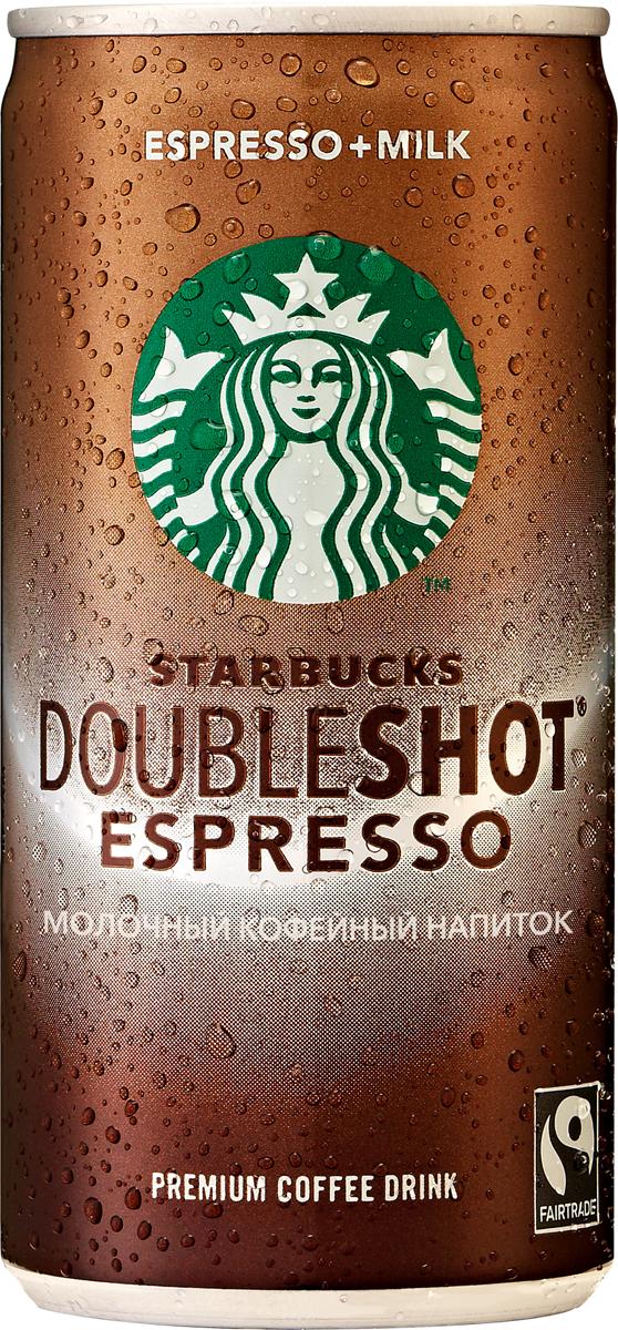 Starbucks Doubleshot Espresso, молочный кофейный напиток, 2,6%, 200 мл starbucks frappuccino mocha молочный кофейный напиток 1 2