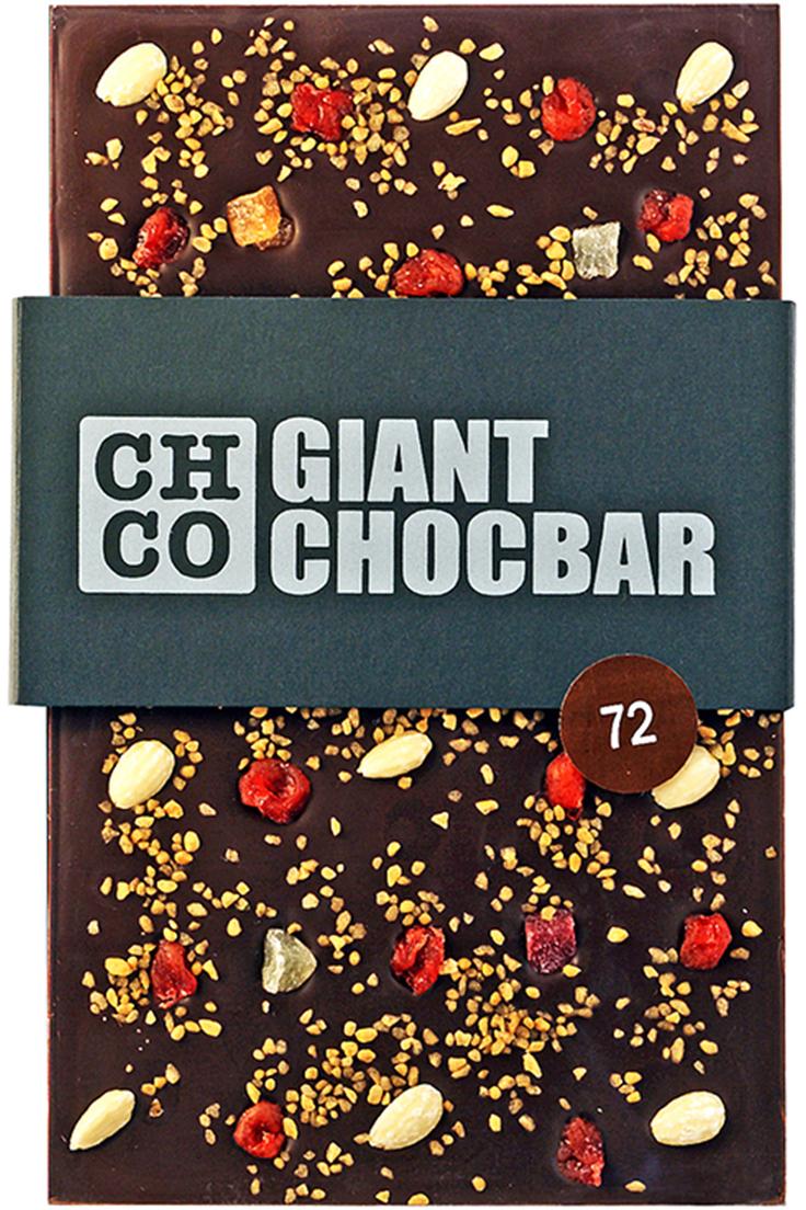 Chco Giant Chocbar 72% темный шоколад, 800 г шоколад chocbar xl luxe сердце с конфетами 380г