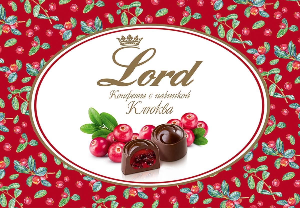 Lord Клюква шоколадные конфеты с начинкой, 155 г ufeelgood cranberry natural натуральная вяленная клюква 100 г