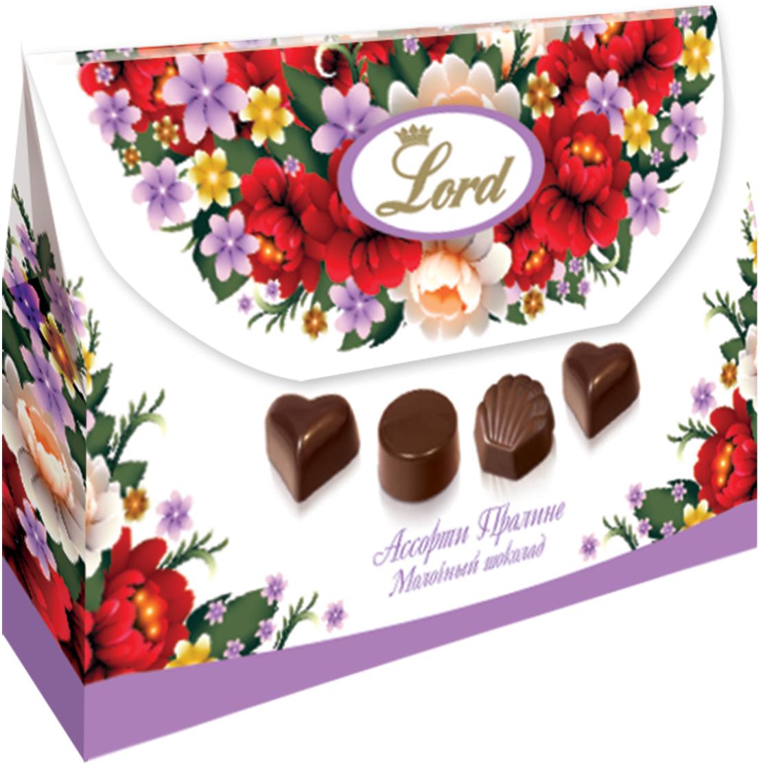 Lord Сумочка с цветами шоколадные конфеты с начинкой, 85 г lord ассорти шоколадных конфет с начинкой 250 г