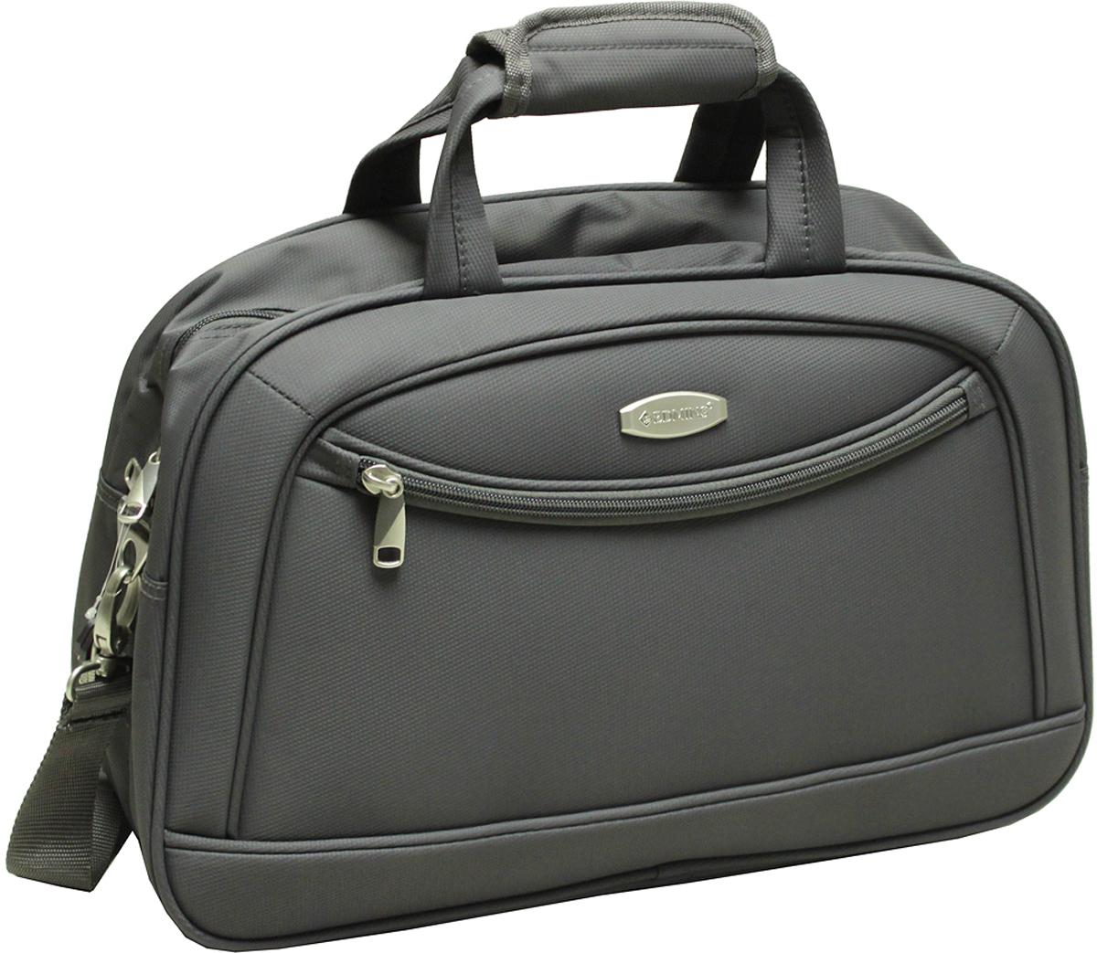 Сумка дорожная Edmins, цвет: серый, 20 л. 213 HF 415*3-1213 HF 415*3-1Сумка дорожная Edmins выполнена из легкой, очень прочной ткани, которая великолепно сохраняет форму и проста в уходе. Данная модель удобна и практична: имеет широкий плечевой ремень, 2 ручки-переноски, умный карман, который позволяет одевать сумку на ручку чемодана, освобождая Ваши руки, а также жеское дно, которое можно поднять, для компактного хранения сумки. Внутри имеется дополнительный карман на молнии. На внешней стороне находится вместительный карман на молнии, который позволяет все самое необходимое хранить под рукой. Внешние габариты: 46*30*16. Вес 0,9кг. Объем 22л. Гарантия 2 года.