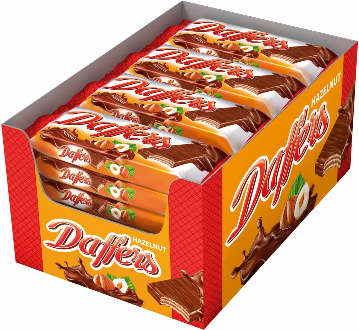 Daffers вафли с кремовой начинкой с лесными орехами в молочно - какао глазури, 28 шт по 30 г bona vita батончик ореховый с семенами подсолнечника орехами и медом в шоколадной глазури 35 г