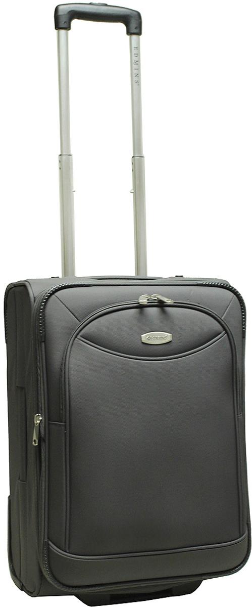 Чемодан-тележка Edmins, на колесах, цвет: серый, 42 л. 213 НМ 720*3-1213 НМ 720*3-1Чемодан Edmins изготовлен из прочного полиэстера: ткань проста в уходе и легко чистится и выдерживает температурные перепады. Выдвижная ручка с кнопкой фиксатором, 2 колеса, которые скрыты в корпусе чемодана. Продуманная и удобная внутренняя организация включает: прижимные ремни для фиксации вещей, боковой карман на молнии, на крышке чемодана расположен карман-сетка на молнии, в комплект входит чехол для обуви. Ручка сбоку позволяет пронести чемодан там, где нет возможности катить. Встроенная адресная бирка расположена на задней стенке чемодана. На внешней стороне присутствует вместительный карман на молнии, который позволяет все самое необходимое хранить под рукой. Чемодан имеет функцию увеличения объема на 5 см. Максимальная нагрузка 10 кг. Вес: 3,1 кг; объем: 42 л. Размер: 50 х 35 х 24 см. Гарантия 2 года.