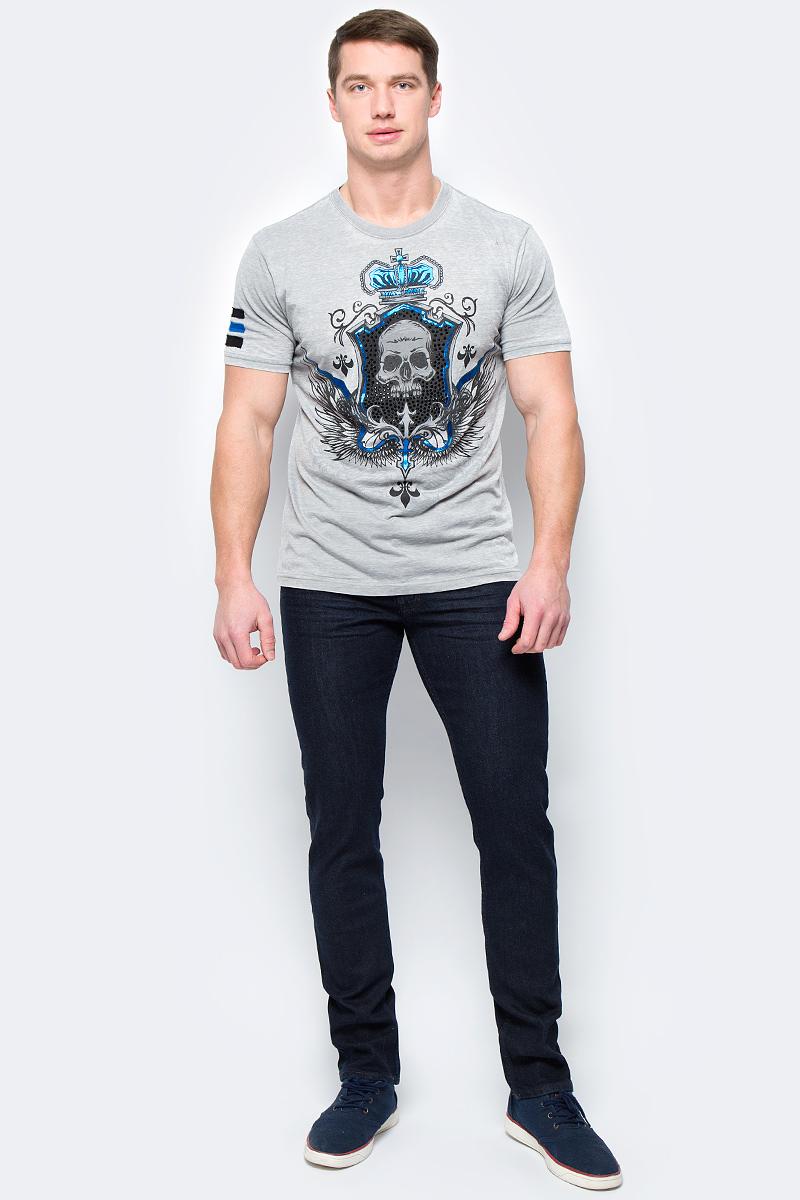 Футболка мужская Rebel Spirit, цвет: серый. SSK131609. Размер XXXL (56)SSK131609Стильная мужская футболка от Rebel Spirit, выполненная из натурального хлопка, отлично дополнит ваш образ. Модель с круглым вырезом горловины и короткими рукавами оформлена оригинальным принтом с названием бренда.