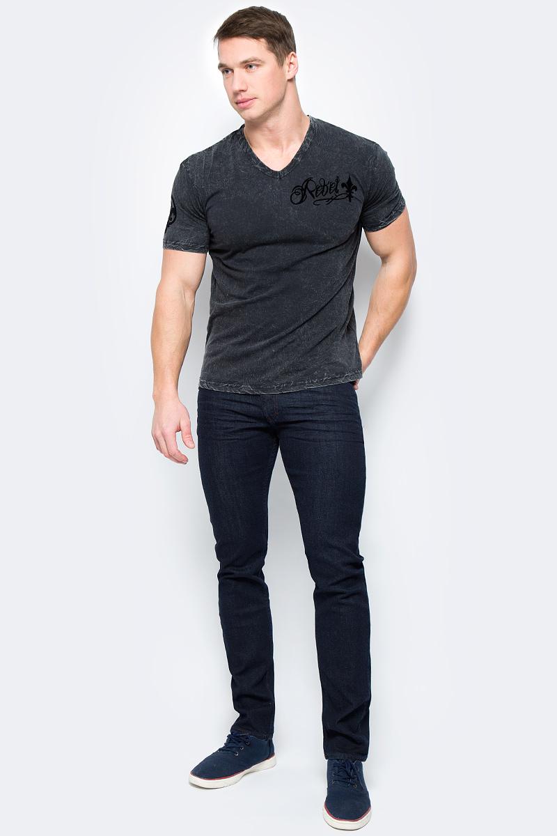 Футболка мужская Rebel Spirit, цвет: черный. SSK141476. Размер XXXL (56)SSK141476Стильная мужская футболка от Rebel Spirit, выполненная из натурального хлопка, отлично дополнит ваш образ. Модель с V-образным вырезом горловины и короткими рукавами.