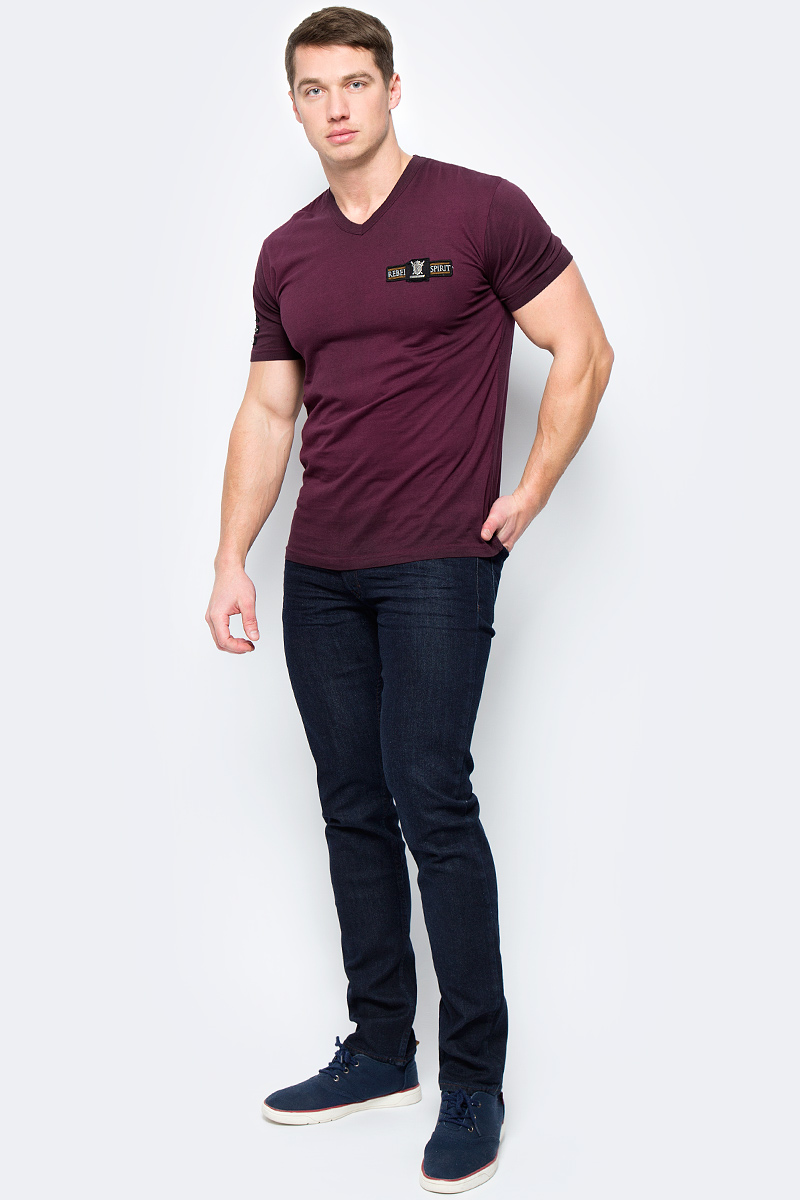 Футболка мужская Rebel Spirit, цвет: баклажановый. SSK131592. Размер XXL (54) футболка мужская rebel spirit цвет черный ssk151763 размер xl 52