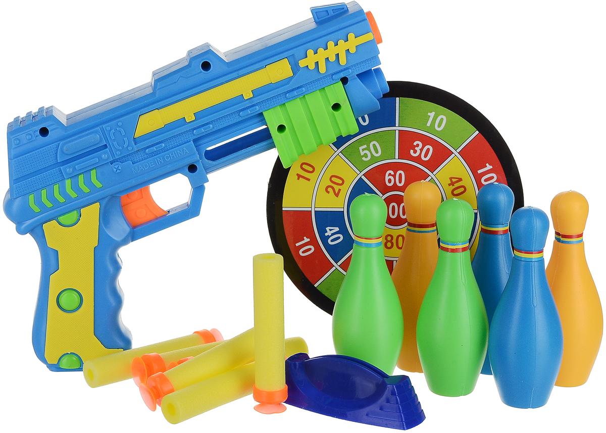 TipTop Ировой набор Пистолет кегли мишень патроны цвет синий tiptop спиннер штурвал цвет розовый