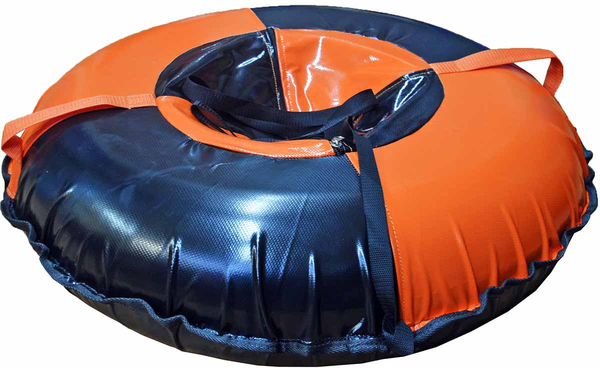 Большой качественный тюбинг, пригодный для катания вдвоём с ребёнком.     Зимние игры на свежем воздухе. Статья OZON Гид