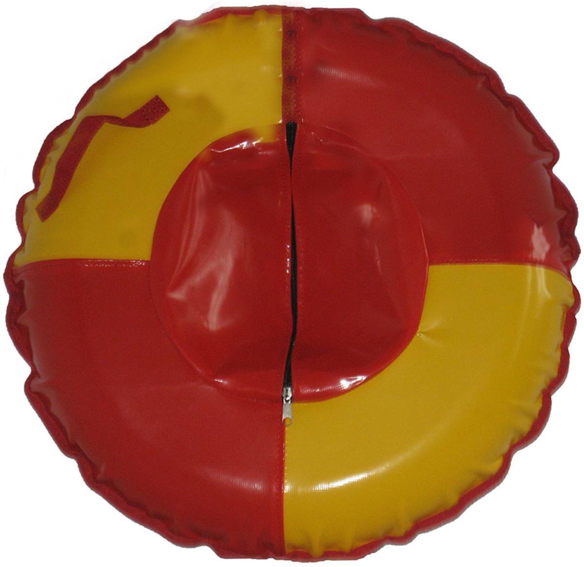 Большой качественный тюбинг, пригодный для катания вдвоём с ребёнком, 120 сантиметров в диаметре    Зимние игры на свежем воздухе. Статья OZON Гид