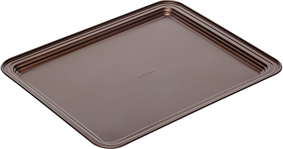 Противень Nadoba Liba, с антипригарным покрытием, цвет: шоколадный, 41,5 х 32 х 2,4 см761115Противень Nadoba Liba стальной, антипригарный, 41,5 х 32 х 2,4 см.