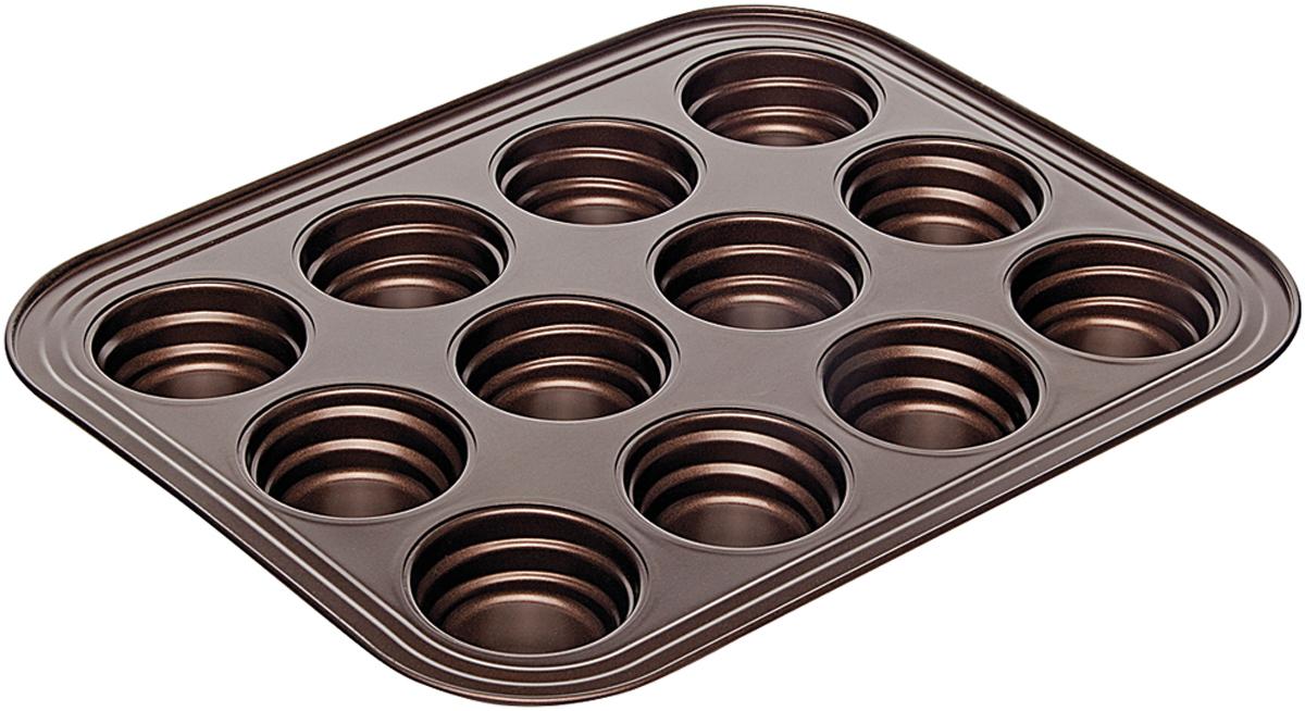 Форма для выпечки Nadoba Liba, 12 ячеек, с антипригарным покрытием, 38 х 30 х 4 см761117Форма Nadoba Liba для 12 маффинов, стальная, антипригарная, 38 х 30 х 4 см.
